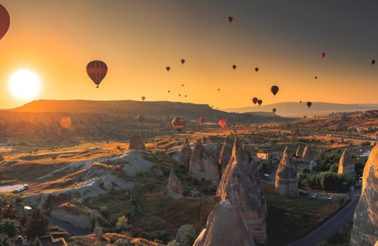 Cappadocia valley at sunrise, Turkey