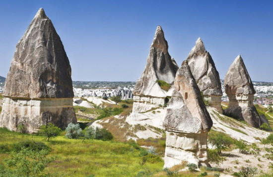 Rocks in Rose Valley of Goreme National Park in Cappadocia